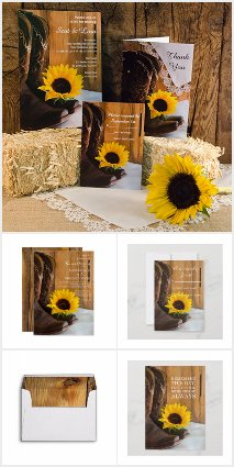 Country Sunflower Wedding Stationery Products