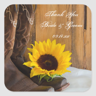 Country Sunflower Wedding Thank You Favor Tag Square Sticker