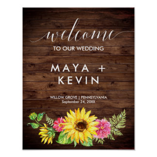 Country Sunflower Welcome Wedding Poster