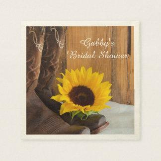 Country Sunflower Western Bridal Shower Paper Napkin