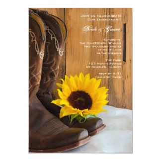 Country Sunflower Western Engagement Party Card