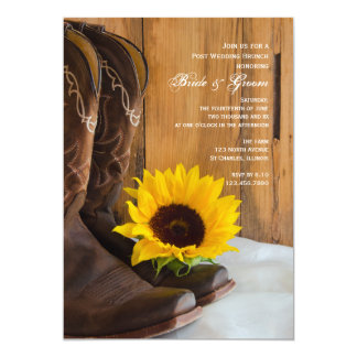 Country Sunflower Western Post Wedding Brunch Card