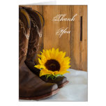 Country Sunflower Western Thank You Card