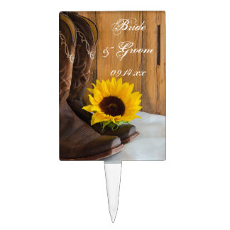 Country Sunflower Western Wedding Cake Topper