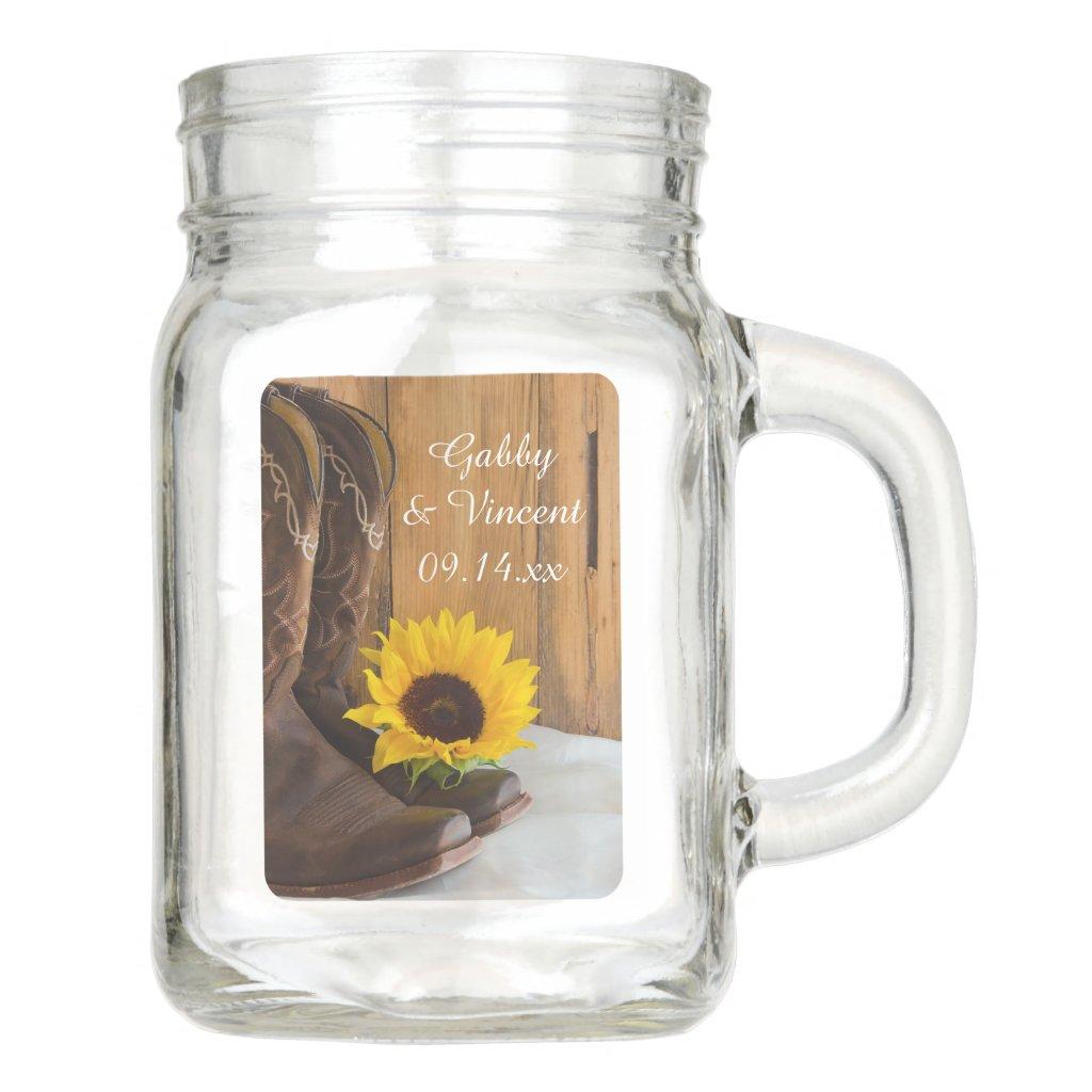 Custom Laurel Wreath Monogram Wedding Favor Mason Jars