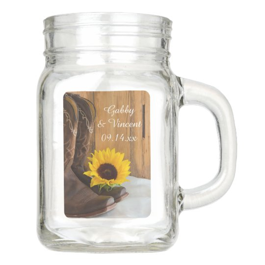 Country Sunflower Western Wedding Favor Mason Jar Zazzle