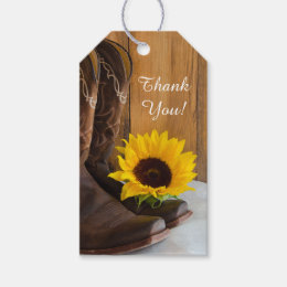 Country Sunflower Western Wedding Favor Tag