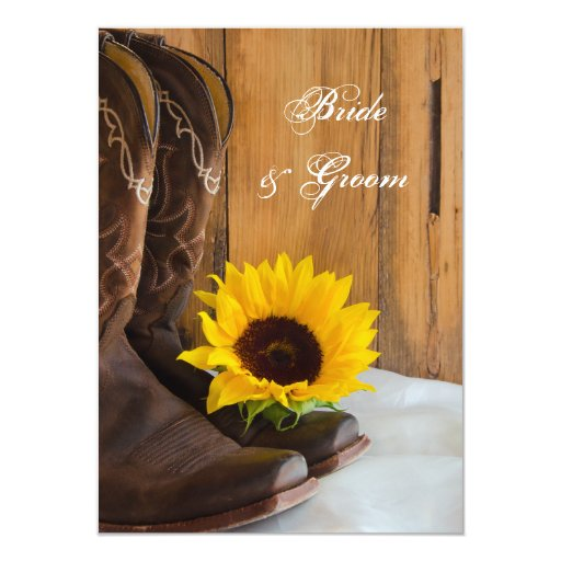 Country Sunflower Western Wedding Flat Notes Card