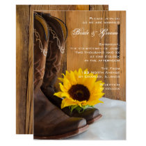 Country Sunflower Western Wedding Invitation