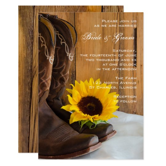 Country Sunflower Western Wedding Invitation Zazzle Com