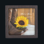 "Country Sunflower Western Wedding Jewelry Box<br><div class=""desc"">A personalized Country Sunflower Wedding Gift Box makes a thoughtful keepsake gift for the bride to be or her bridesmaids. It can also be used to carry the wedding rings down the aisle at your rural farm or ranch style marriage ceremony. This informal yet elegant custom rustic wedding gift box...</div>"