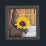 """Country Sunflower Western Wedding Jewelry Box<br><div class=""""desc"""">A personalized Country Sunflower Wedding Gift Box makes a thoughtful keepsake gift for the bride to be or her bridesmaids. It can also be used to carry the wedding rings down the aisle at your rural farm or ranch style marriage ceremony. This informal yet elegant custom rustic wedding gift box...</div>"""