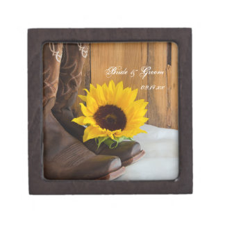 Country Sunflower Western Wedding Jewelry Box