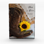 """Country Sunflower Western Wedding Keepsake Acrylic Award<br><div class=""""desc"""">Customize the rustic chic Country Sunflower Western Wedding Keepsake with the personal name of the bride and groom and specific marriage ceremony date. This charming custom ranch theme nuptial keepsake features a quaint floral photograph of a pair of brown leather cowboy boots, yellow sunflower blossom and brown barn wood background....</div>"""