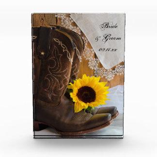 Country Sunflower Western Wedding Keepsake Acrylic Award