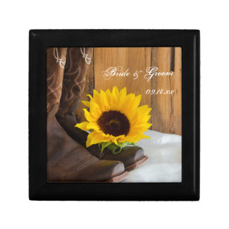 Country Sunflower Western Wedding Keepsake Jewelry Box