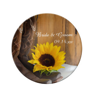 Country Sunflower Western Wedding Keepsake Porcelain Plate