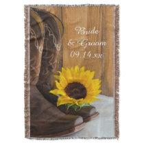 Country Sunflower Western Wedding Keepsake Throw
