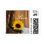 Country Sunflower Western Wedding Love Postage
