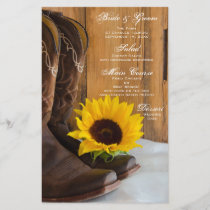 Country Sunflower Western Wedding Menu
