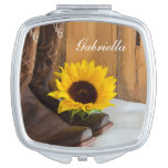 Country Sunflower Western Wedding Mirror For Makeup at Zazzle