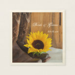 Country Sunflower Western Wedding Paper Napkin at Zazzle