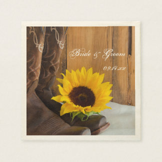 Country Sunflower Western Wedding Paper Napkin