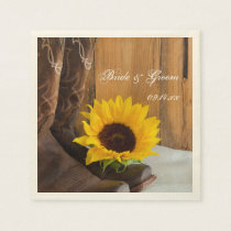 Country Sunflower Western Wedding Paper Napkins