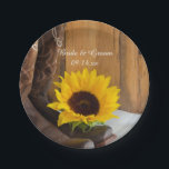 "Country Sunflower Western Wedding Paper Plate<br><div class=""desc"">Add a charming accent to your rural farm or ranch style bridal shower or marriage reception with the pretty Country Sunflower Western Wedding Paper Plates. These casual yet classy custom wedding disposable plates feature a quaint floral photograph of a pair of brown leather cowboy boots and yellow sunflower blossom with...</div>"