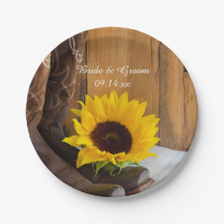 Country Sunflower Western Wedding Paper Plate at Zazzle