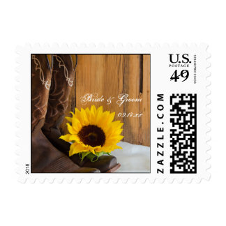 Country Sunflower Western Wedding Postage Stamps