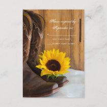 Country Sunflower Western Wedding RSVP Response