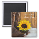 Country Sunflower Western Wedding Save the Date 2 Inch Square Magnet