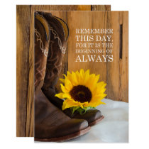 Country Sunflower Western Wedding Save the Date Invitation