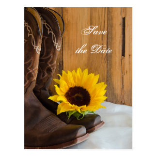 Country Sunflower Western Wedding Save the Date Postcard