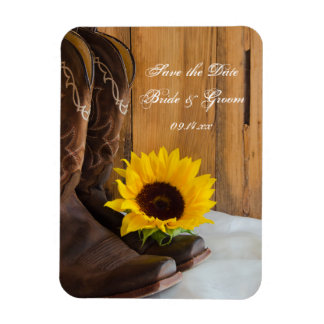 Country Sunflower Western Wedding Save the Date Rectangular Photo Magnet