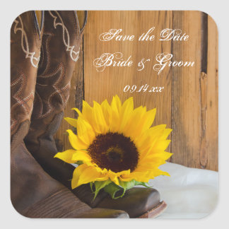 Country Sunflower Western Wedding Save the Date Square Sticker