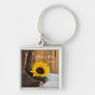 Country Sunflower Western Wedding Silver-Colored Square Keychain