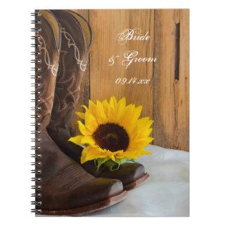 Country Sunflower Western Wedding Spiral Notebook
