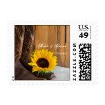 Country Sunflower Western Wedding Stamp
