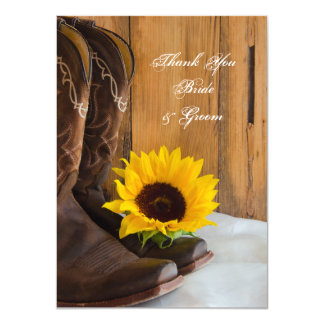 Country Sunflower Western Wedding Thank You Notes Card