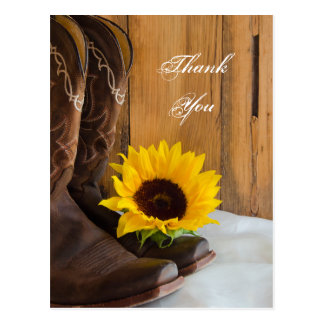 Country Sunflower Western Wedding Thank You Postcard