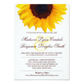Country Sunflower White Wedding Invitations