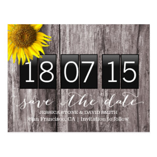 Country Sunflower Wood Background Save the Date Postcard