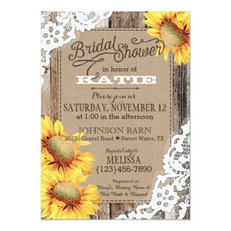 Country Sunflower Wood Lace Rustic Bridal Shower Card