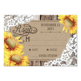 Country Sunflower Wood Lace Rustic RSVP Card