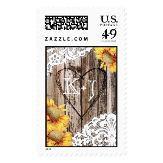 Country Sunflower Wood Lace Rustic Wedding Postage Stamps at UniqueRusticWeddingInvitations.com