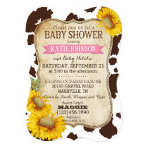 Country Sunflowers and Cow Print Baby Shower Invitation