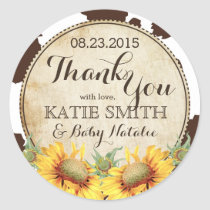Country Sunflowers and Cow Print Thank You Classic Round Sticker