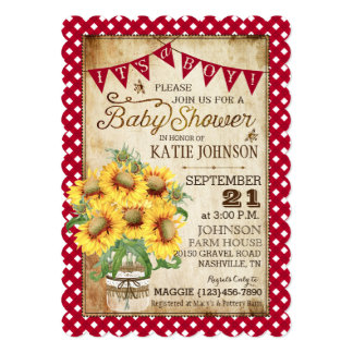 Country Sunflowers and Gingham Check Baby Shower Card